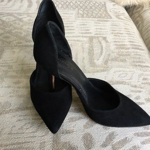 Black Suede Vince D'orsay Heels